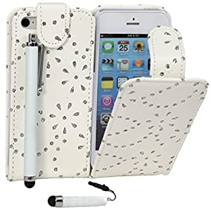 Connect Zone® White Diamond Bling Sparkly PU Leather Flip Case For iPod Touch 4/4th Gen + 1 x Mini Stylus + 1 x Tall Stylus + Screen Protector & Polishing Cloth