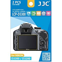 JJC LCP-D3300 ultra hard polycarbonate LCD Film Screen Protector For Nikon D3200 / D3300 2 Pack