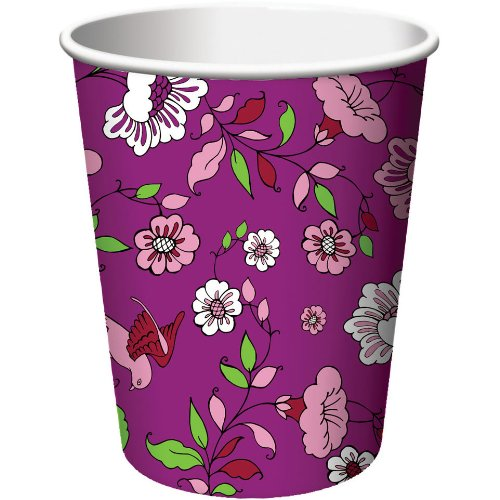 Creative Converting Plumeria Hot or Cold Beverage Cups, 8 Count