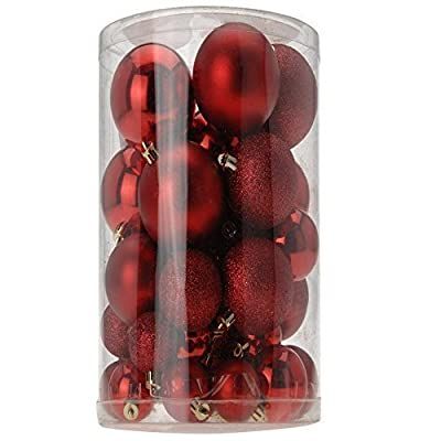 40 Red Christmas Baubles in A selection of Matt-Shiny & Glitter