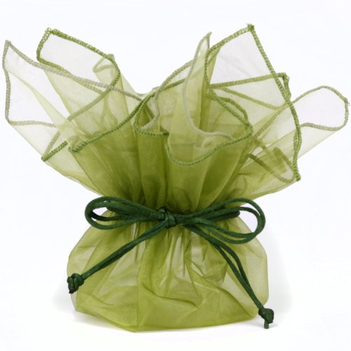 10 Designer Organza Fabric Gift Bags Pouches Party Favor Gifts Packaging Olive Green front-20755