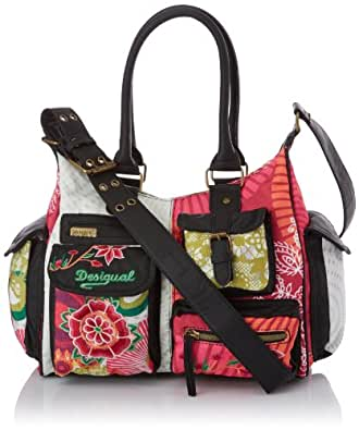 Desigual Bols London Floreada, Sac bandoulière - Rouge (3001), Taille Unique