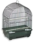 Blue Ribbon 9-Inch by 12-Inch by 15-1/2-Inch Arch Style Roof Bird Cage, Black/Smoke