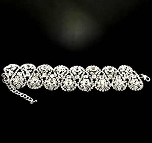39g 7.3'' Bridal Jewelry Crystal Rhinestone Floral Stretch Bracelet Silver for Wedding, Occassional, party