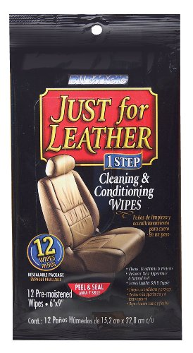 BlueMagic NA1217 Just for Leather 1 Step Cleaning & Conditioning Wipes - 12 Piece