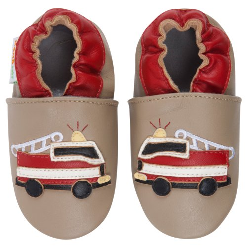 Momo Baby Infant/Toddler Firetruck Taupe Soft Sole Leather Shoes - 18-24 Months/6-7 M Us Toddler front-937657