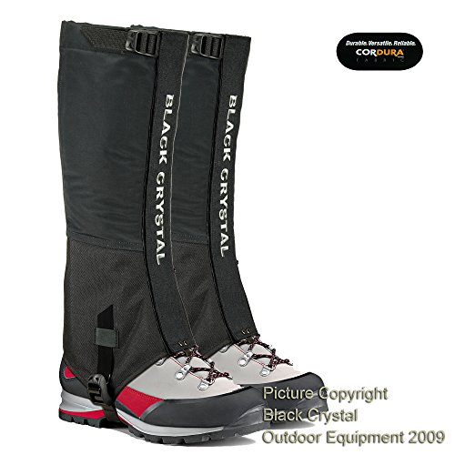 Black Crystal Hiking Ski Snow Gaiters Waterproof
