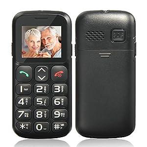 SOS Fonction Feature Phone pour les Personnes âgées 1.77 pouces LCD Dual SIM Double Veilleà Grosses touches et son amplifié Téléphone Portable débloqué avec Charging Dock 2G GSM Quadri-bande