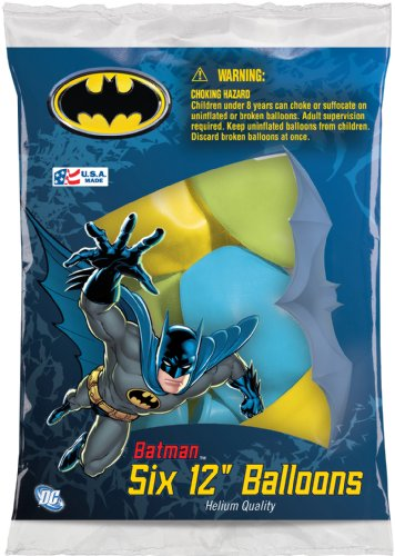 "Batman 12"" Assorted Color Balloons, Pack of 6"