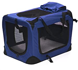 """24"""" Pet Dog Carrier Travel Bag Crate Cat Tote Cage Folding Kennel W/Mat Blue"""