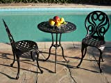 CBM Outdoor Patio Deck Cast Aluminum Furniture 3 Peice Bistro Set G BLK CBM1290