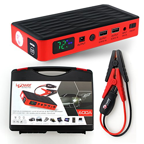 HALF Minute Power 600A Peak 35520mWh 12V Portable Car Battery Jump Starter Emergency Booster Charger and Auto Bank Power Pack with a Gift Ec-5 Cigarette Lighter Socket (Black/Red) (Small Battery Jump Starter compare prices)