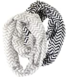 2 Pack of Soft Light Weight Zig Zag Chevron Sheer Infinity Scarf