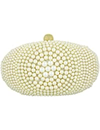 Tooba Women's Clutch (White, White Round Pearl Oval)