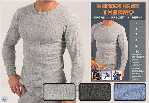 Thermo Herren-Unterhemd Thermohemd langarm, grau, Gr. 8 (L)