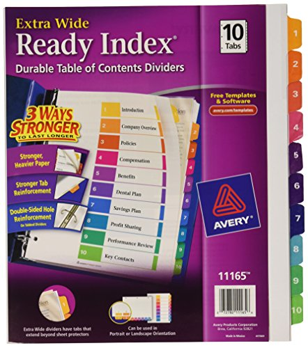 Avery Extrawide Ready Index Dividers, Laser/Ink Jet, 9.5 x 11 Inches, Assorted, 10 Tabs, 1 Set (11165) (Avery Extra Wide Tabs compare prices)