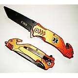 EMT / EMS ASSISTED Opening TANTO BLADE RESCUE POCKET KNIFE + Seat Belt Cutter + Glass Breaker (Color: black)