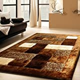 Admirable Shaggy Viscose #30 Brown Living Room Area Rug ,~5 ft. x 7 ft. (152 x 214) FREE RUG PAD INCLUDED