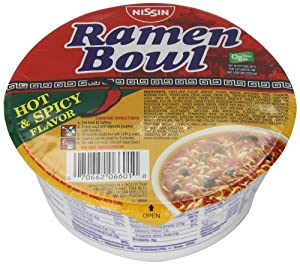 Nissin Ramen Bowl, Hot and Spicy, 3.3 Ounce (Pack of 6) from Harbor Wholesale Grocery, Inc.