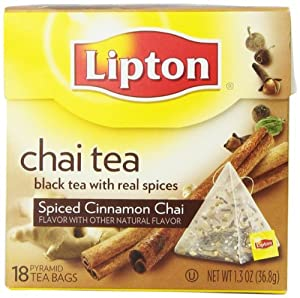 Lipton Pyramid Tea Bags, Spiced Cinnamon Chai, 18 Tea bags