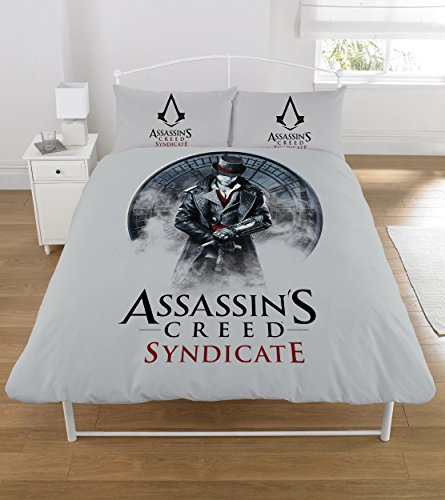 Assassin's Creed Syndicate Copripiumino Reversibile - Grigio, Nero, Set piumino doppio