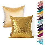 AMAZLINEN(TM) Decorative Glitzy Sequin & Comfy Satin Solid Throw Pillow Cover 18 Inch Square Pillow Case, Hidden Zipper Design, 1 Cover Pack Only(Gold)