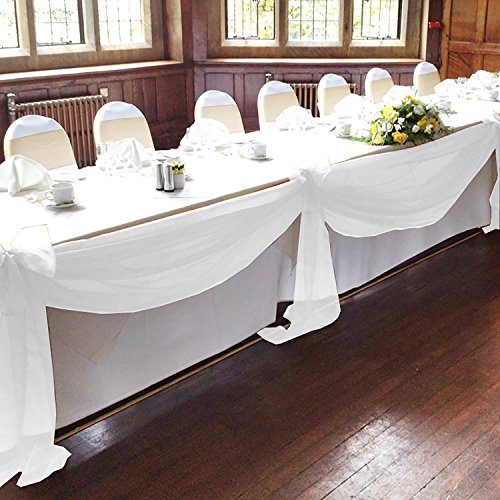 Bit Fly 1pc 500CM x 135CM Sheer Scarf Organza table swags Wedding for event party decoration Decoration (white)