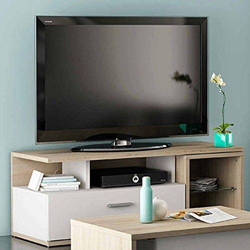 Mesa de TV para comedor o salón en color roble y blanco de 120cm con una mesita auxiliar desplegable.