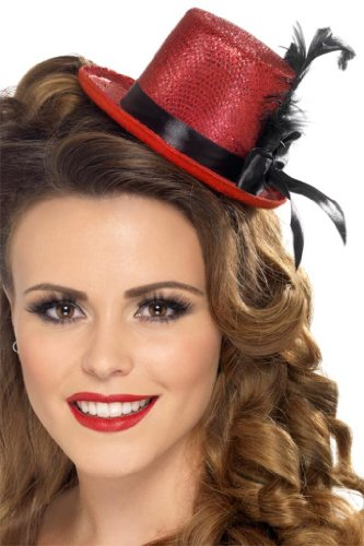 Smiffy's Mini Top Hat, Red/Black, One Size - 1