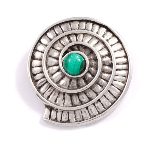 St Justin, Pewter Ammonite Spiral Brooch - Malachite