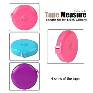 3 Pack Tape Measure 150 cm 60 Inch Push Button Tape Body Measuring Soft Retractable for Sewing Double-Sided Tailor Cloth Ruler (Pink Purple Sky Blue) by BUSHIBU (Color: Pink, Purple, Sky Blue, Tamaño: 18)
