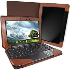 ASUS Eee Pad Transformer Prime TF201 MiniSuit Leather Keyboard Folio case for Mobile Docking and Tablet (Brown)