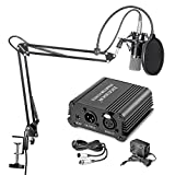 Neewer NW-700 Professional Condenser Microphone & NW-35 Suspension Boom Scissor Arm Stand with Built-in XLR Cable and Mounting Clamp & NW-3 Pop Filter & 48V Phantom Power Supply with Adapter Kit ()