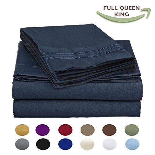 Luxury Egyptian Comfort Wrinkle-Free 1800 Thread Count 4 Piece Queen Size Sheet Set, Blue Color (Queen Size Egyptian Cotton Sheets compare prices)