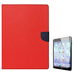 Mercury Textured Wallet Diary Case for Apple iPad 2/3/4 (Red) + Tempered Glass Screen