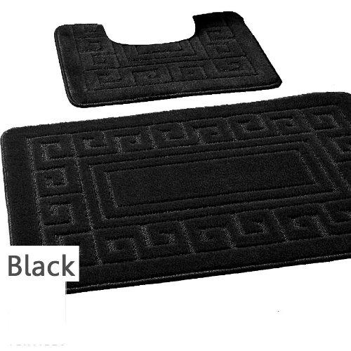 Black Machine Washable 2 Piece Bath Mat Set