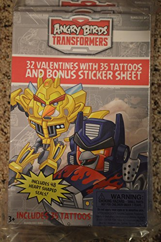 Angry Birds Transformers 32 Valentine Cards with 35 Tattoos Bonus Sticker Sheet (4 Pack)