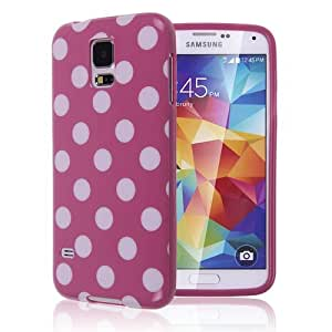POLKA DOT Soft Flexible TPU Rubber Case Cover for Samsung Galaxy S5 SV i9600 Rose