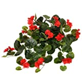 FloristryWarehouse Artificial silk Geranium Red 50cm hanging basket window box flowers