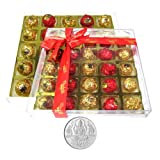 Chocholik's Perfect Combination Of Chocolate Truffles With Gold & Red Colors With 5gm Pure Silver Coin - Diwali...
