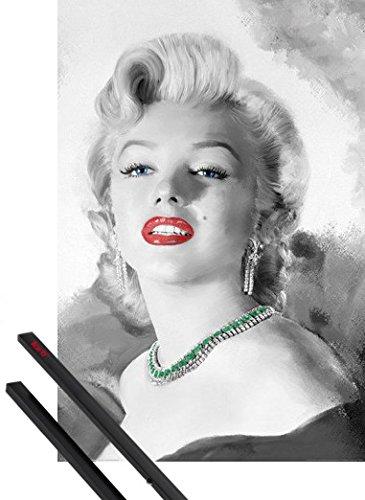 Poster + Sospensione : Marilyn Monroe Poster Stampa (91x61 cm) Diamonds Are A Girl's Best Friend, Jerry Michaels E Coppia Di Barre Porta Poster Nere 1art1®