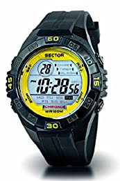 Sector Sports Watch R3251272315 In Collection Street with Digital Display, Silver Dial and Black Pu Strap