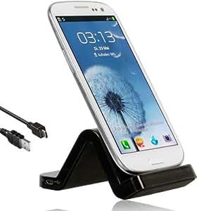 Wicked Chili Dockingstation Wave für Samsung Galaxy S4 i900 / S3 i9300 Ladestation (USB Datenkabel, PC & MAC, schwarz / black)