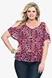 Torrid Plus Size Pink Leopard Chiffon Cold-Shoulder Top