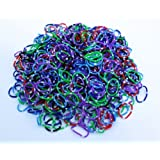 "Polka Dot Color Rainbow Rubber Loom Rainbow Bands 600 Pieces with 24 ""S"" Clips"