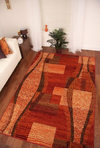 Napoli Warm Red Wine Terracotta Burnt Orange Mottled Rug 120x170cm (3'11