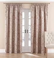 Damask Floral Pencil Pleat Curtains