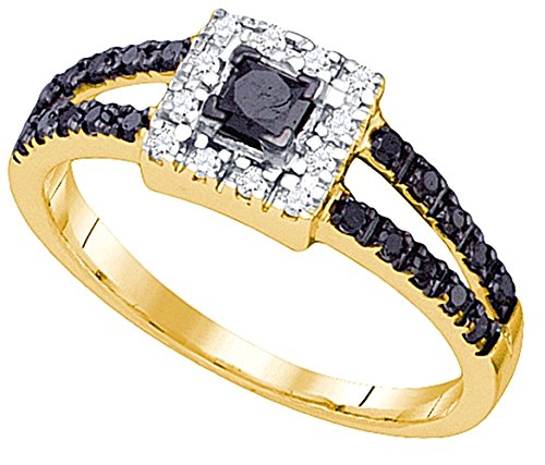 0.58 carats Princess & round diamonds wedding ring gold white 10K size C