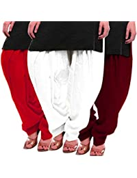 Women's Red White-Maroon Cotton Patiala Salwar