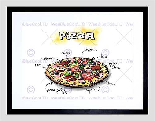 PAINTING ILLUSTRATION TASTY FOOD RECIPE PIZZA BLACK FRAMED ART PRINT B12X13626 (Tasty Foto Art compare prices)